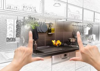 Female Hands Framing Custom Kitchen Design.