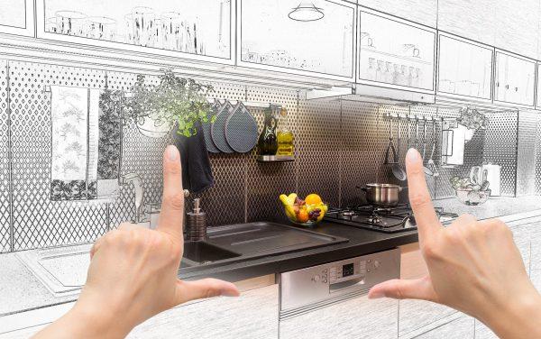 Female Hands Framing Custom Kitchen Design.